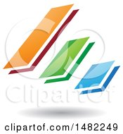 Clipart Of Three Diagonal Floating Bars And A Shadow Royalty Free Vector Illustration by cidepix