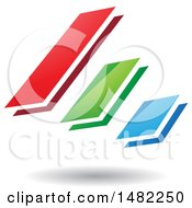 Clipart Of Three Diagonal Floating Bars And A Shadow Royalty Free Vector Illustration