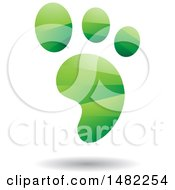 Clipart Of A Shiny Green Foot Print Logo Royalty Free Vector Illustration
