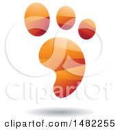Clipart Of A Shiny Orange Foot Print Logo Royalty Free Vector Illustration