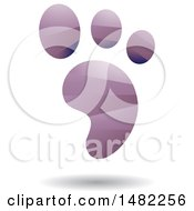Clipart Of A Shiny Purple Foot Print Logo Royalty Free Vector Illustration