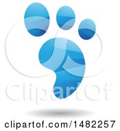 Clipart Of A Shiny Blue Foot Print Logo Royalty Free Vector Illustration