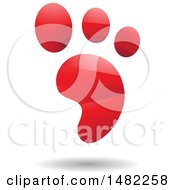 Clipart Of A Shiny Red Foot Print Logo Royalty Free Vector Illustration