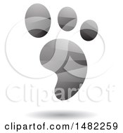 Clipart Of A Shiny Gray Foot Print Logo Royalty Free Vector Illustration