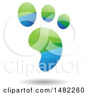 Clipart Of A Shiny Green And Blue Foot Print Logo Royalty Free Vector Illustration