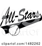 Clipart Of A Baseball And Swoosh Under All Stars Text Royalty Free Vector Illustration by Johnny Sajem