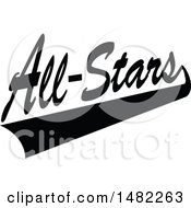 Clipart Of A Black And White Swoosh Under All Stars Text Royalty Free Vector Illustration by Johnny Sajem