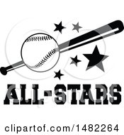Clipart Of A Baseball Bat And Stars Over All Stars Text Royalty Free Vector Illustration by Johnny Sajem