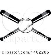Baseball Over Crossed Bats