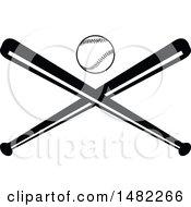 Poster, Art Print Of Baseball Above Crossed Bats