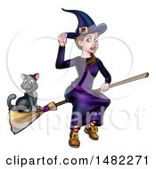 Witch Tipping Her Hat And Flying On A Broomstick With Her Cat