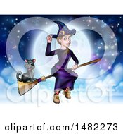 Clipart Of A Witch Tipping Her Hat And Flying On A Broomstick Over A Full Moon With Her Cat Royalty Free Vector Illustration by AtStockIllustration