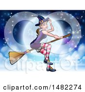 Clipart Of A Witch Tipping Her Hat And Flying On A Broomstick Over A Full Moon Royalty Free Vector Illustration