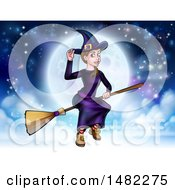 Clipart Of A Witch Tipping Her Hat And Flying On A Broomstick Over A Full Moon Royalty Free Vector Illustration by AtStockIllustration