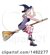 Clipart Of A Witch Tipping Her Hat And Flying On A Broomstick Royalty Free Vector Illustration by AtStockIllustration