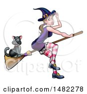 Clipart Of A Witch Tipping Her Hat And Flying On A Broomstick With Her Cat Royalty Free Vector Illustration