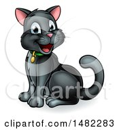 Clipart Of A Happy Black Cat Sitting Royalty Free Vector Illustration by AtStockIllustration