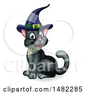 Happy Black Cat Wearing A Witch Hat And Sitting