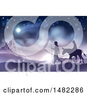 Clipart Of A Silhouetted Scene Of Mary And Joseph On Their Jouney Royalty Free Vector Illustration by AtStockIllustration
