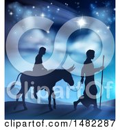 Silhouetted Scene Of Mary And Joseph On Their Jouney