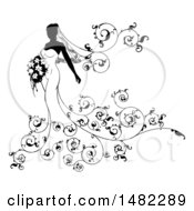 Silhouetted Black And White Bride With Flowers
