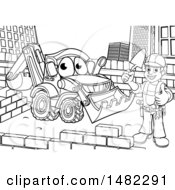 Poster, Art Print Of Black And White Happy Male Mason Holding A Thumb Up Working Near A Bulldozer Digger