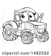 Poster, Art Print Of Black And White Happy Tractor Mascot