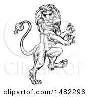 Black And White Heraldic Rampant Lion