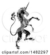 Clipart Of A Black And White Heraldic Rampant Unicorn In Profile Royalty Free Vector Illustration by AtStockIllustration