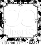 Poster, Art Print Of Black And White Border Or Wedding Invitation With Hibiscus Flowers