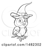Clipart Of A Cartoon Black And White Witch Owl Wearing A Hat Royalty Free Vector Illustration by AtStockIllustration
