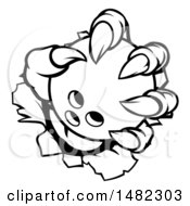 Clipart Of Black And White Monster Claws Ripping Through Metal With A Bowling Ball Royalty Free Vector Illustration