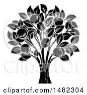 Clipart Of A Black And White Apple Tree Royalty Free Vector Illustration by AtStockIllustration