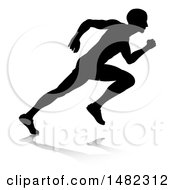 Clipart Of A Black And White Silhouetted Male Sprinter Royalty Free Vector Illustration by AtStockIllustration