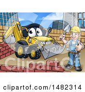 Clipart Of A Happy Male Mason Holding A Thumb Up Working Near A Bulldozer Digger Royalty Free Vector Illustration by AtStockIllustration