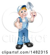 Cartoon Full Length Happy White Male Gardener In Blue Holding A Garden Trowel And Giving A Thumb Up