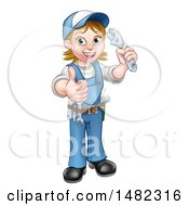 Cartoon Full Length Happy White Female Plumber Holding An Adjustable Wrench And Giving A Thumb Up