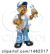 Cartoon Full Length Black Male Plumber Holding A Wrench And Giving A Thumb Up