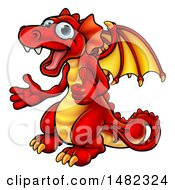 Cartoon Red Dragon Giving Two Thumbs Up
