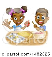 Poster, Art Print Of Cartoon Happy Black Girl And Boy Making Frosting And Star Cookies