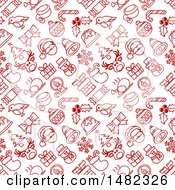 Clipart Of A Red And White Seamless Christmas Pattern Royalty Free Vector Illustration by AtStockIllustration