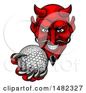 Clipart Of A Grinning Evil Red Devil Holding Out A Golf Ball In A Clawed Hand Royalty Free Vector Illustration