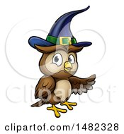 Clipart Of A Cartoon Presenting Witch Owl Wearing A Hat Royalty Free Vector Illustration by AtStockIllustration