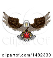 Cartoon Swooping American Bald Eagle With A Cricket Ball In His Talons