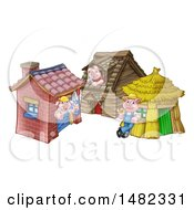 Piggies From The Three Little Pigs Fairy Tale At Their Brick Wood And Straw Houses