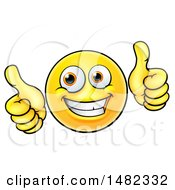 Poster, Art Print Of Cartoon Happy Yellow Emoji Smiley Face Emoticon Holding Two Thumbs Up