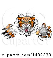 Clipart Of A Vicious Tiger Mascot Slashing Through A Wall With A Golf Ball Royalty Free Vector Illustration