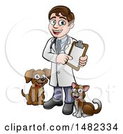 Cartoon Happy May Veterinarian Holding A Chart And Standing With A Dog And Cat