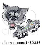 Clipart Of A Mad Wolf Mascot Holding A Video Game Controller Royalty Free Vector Illustration by AtStockIllustration