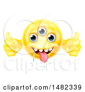 Poster, Art Print Of Yellow Drooling Alien Monster Emoji Emoticon Smiley Holding Two Thumbs Up